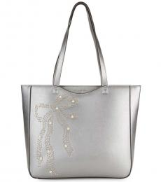 Karl Lagerfeld Pewter Bow Embellished Large Tote