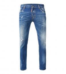 Blue Ribbed Skater Jeans