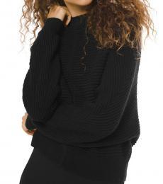 Black Dolman-Sleeve Ribbed Sweater