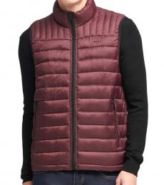 DKNY Oxblood Packable Quilted Vest
