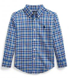 Little Boys Royal/Green Plaid Poplin Shirt