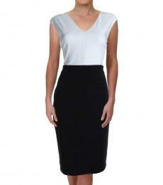 Ralph Lauren Black/White Colorblock V-Neck Dress