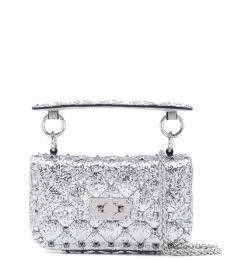 Valentino Garavani Silver Rockstud Spike Metallic Mini Shoulder Bag