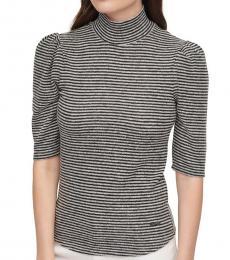 DKNY Black Elbow-Sleeve Top