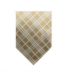 Burberry Gold Timeless Plaid Print Silk Tie
