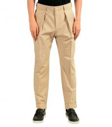 Beige Pleated Casual Pants