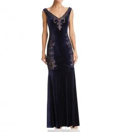 BCBGMaxazria Dark Navy Velvet Lace Dress