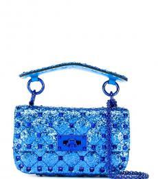 Valentino Garavani Blue Rockstud Spike Mini Shoulder Bag