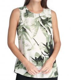 DKNY Green Sleeveless Printed Top