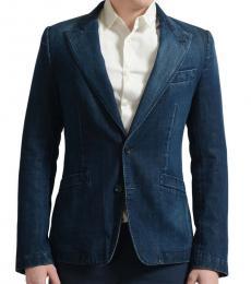 Dolce & Gabbana Blue Denim Two Button Sport Coat