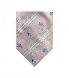 Burberry Pink Dapper Logo Print Silk Tie