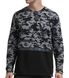 DKNY Black Camo-Print Mixed-Media Pullover