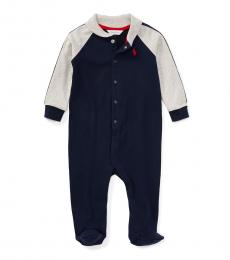 Baby Boys Navy Jersey Coverall