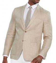 Tan Solid Linen Sport Coat
