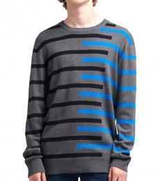 Jet Heather Asymmetrical Stripe Sweater