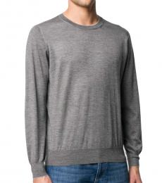 Brunello Cucinelli Dark Grey Mottled Crew Neck Jumper