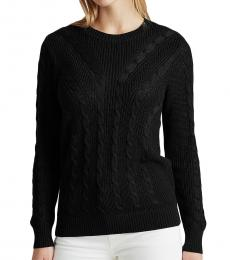 Ralph Lauren Black Cable-Knit Crewneck Sweater