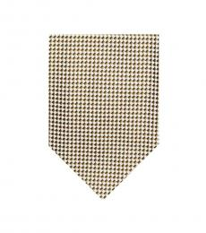 Gold Modern Plaid Silk Tie