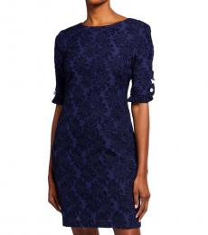 Karl Lagerfeld Dark Blue Ruffle-Sleeve Sheath Dress