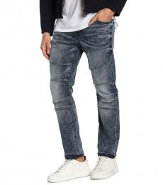 Grey Geno Relaxed Slim Fit Moto Jeans