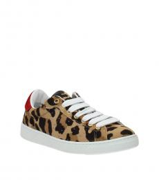 Leopard Print Back Logo Sneakers