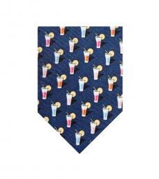 Ralph Lauren Navy Cocktails Print Silk Tie