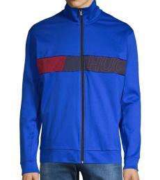 Hugo Boss Blue Logo Cotton-Blend Track Jacket