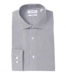 Smokey Blue Striped Slim Fit Dress Shirt