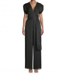 Diane Von Furstenberg Black Printed Silk Jumpsuit