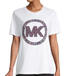 Michael Kors White Floral Logo Cotton T-Shirt
