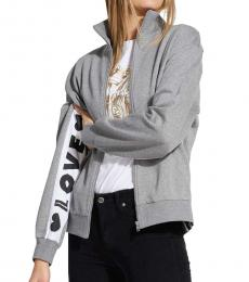 Love Moschino Grey Logo Sweatshirt Jacket