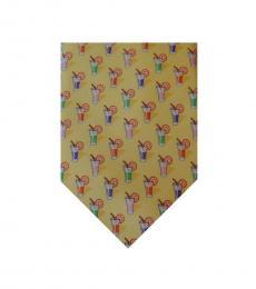 Ralph Lauren Yellow Traditional Cocktails Print Silk Tie
