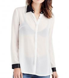Off White Leather Collar Shirt