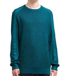 Deep Teal Waffle-Knit Sweater