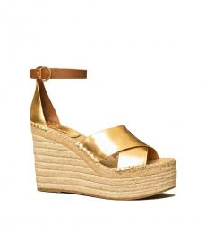 Tory Burch Gold Ambra Selby Metallic Wedges