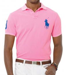 Ralph Lauren Pink Custom Fit Blue Pony Polo