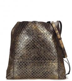 Black Metallic Medium Messenger Bag