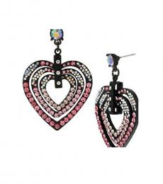 Black Exquisite Heart Crystals Earrings
