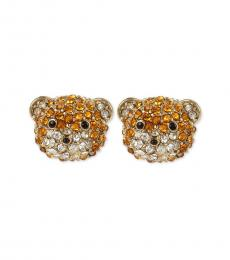 Betsey Johnson Golden Exquisite Teddy Bear Stud Earrings