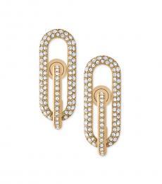 Gold Pave Loop Post Earrings