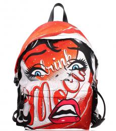 Moschino Red Graphic Large Backpack