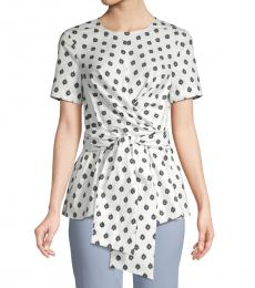Diane Von Furstenberg White Printed Short-Sleeve Top