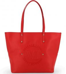 Versace Jeans Red Embossed Logo Large Tote
