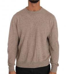 Dolce & Gabbana Beige Wool Cashmere Logo Pullover