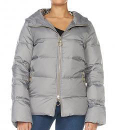 Cavalli Class Grey Hooded Classic Jacket