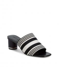 Black White Aceline Striped Heels
