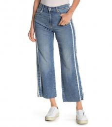 Denim Side Stripe Cropped Jeans