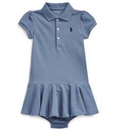 Ralph Lauren Baby Girls Capri Blue Mesh Polo Dress