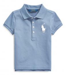 Ralph Lauren Little Girls Capri Blue Big Pony Mesh Polo