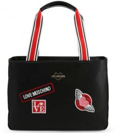 Love Moschino Black Patches Large Tote